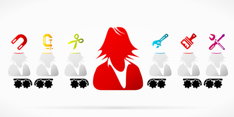 Businesswoman brainwash propaganda pattern illustration