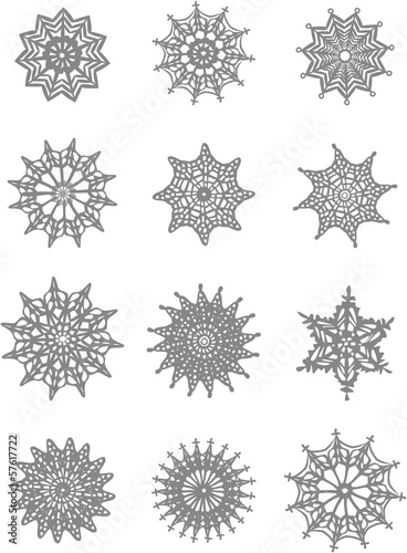 Set of lace snowflakes