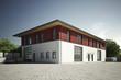 Leinwanddruck Bild - Gewerbehalle mit roter Fassade