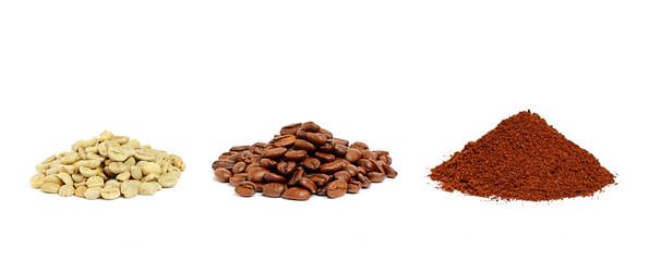 Three types of coffee beans.
