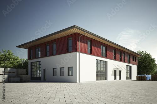 canvas print picture Gewerbehalle mit roter Fassade