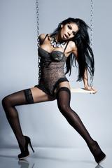 Elegant mulatto girl in lingerie