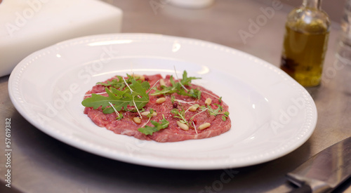 Carpaccio with rucola
