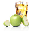 Apple juice with apples around