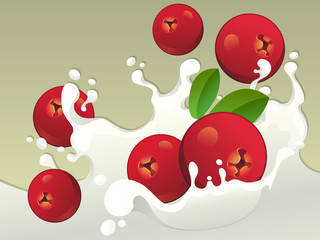 Milk splash with cranberries on light background.
