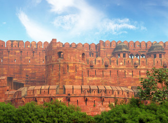 red fort wall in Agra