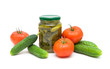 Fresh tomatoes and cucumbers and pickled cucumbers isolated on w