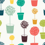 Garden seamless pattern with doodle potted trees
