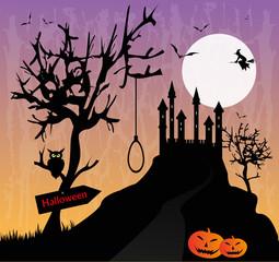 illustrazione di paesaggio macabro con castello
