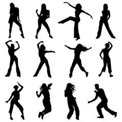 set silhouettes zumba dancers