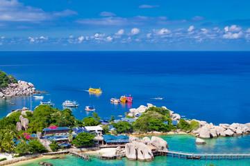 Marina pier of beautiful tropical island. Koh Phangan island, Ki
