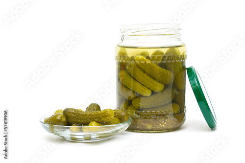 pickled cucumbers close-up on a white background. horizontal pho