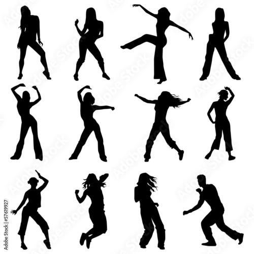 Zdjęcia na płótnie, fototapety, obrazy : set silhouettes zumba dancers