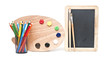 oil drawing board with colorful pencils and small school blackbo
