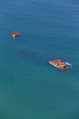 Aerial view of cargo vessel shipwreck