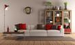 Modern sofa in a vintage living room