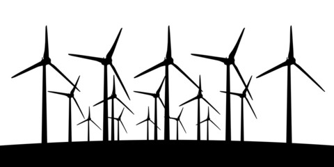 group of aeolian windmills in perspective silhouette