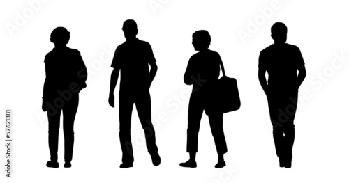middle age men and women walking outdoor silhouettes set 1