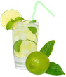 Fresh cold lemonade from lime with ice close up