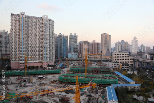 Construction site in the city of Shanghai, China