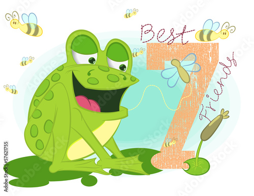 Illustration vector of little frog wifht bees.