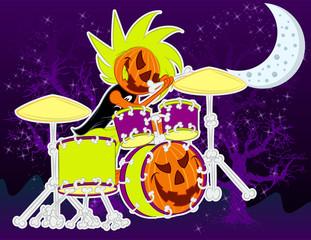 Illustration vector character Pumpkin music for halloween