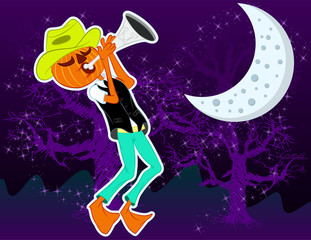 Illustration vector character Pumpkin music for halloween