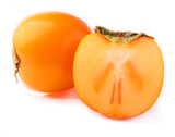 ripe persimmon on a white