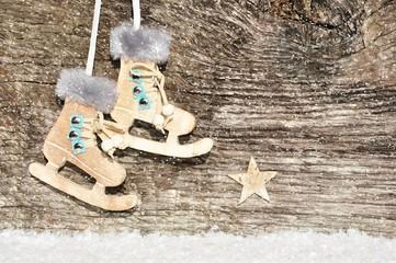 weihnachtliche Holzwerbefläche