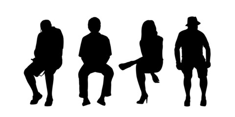 people seated outdoor silhouettes set 1
