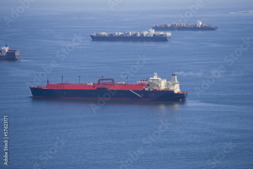 Aerial view of cargo ships at sea