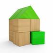 Haus aus Bauklötzen - Grün