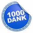 3D Aufkleber Blau - 1000 Dank
