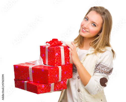 Young girl with gift boxes