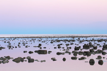Low Tide stone desert at dusk