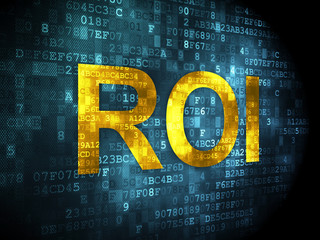 Finance concept: ROI on digital background