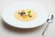 Pumpkin crab soup on a white bowl