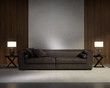 Classic elegant living room with dark leather sofa