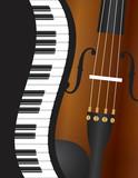 Fototapety Piano Wavy Border with Violin Illustration