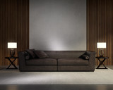 Classic elegant living room with dark leather sofa