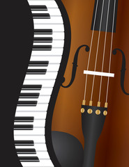 Piano Wavy Border with Violin Illustration