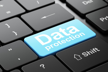 Safety concept: Data Protection on computer keyboard background