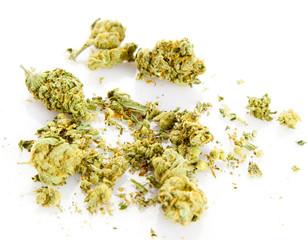 marijuana isolated on white background.  Medical Marijuana C.