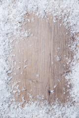 Hintergrund: Schnee auf Holz