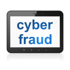 Security concept: Cyber Fraud on tablet pc computer