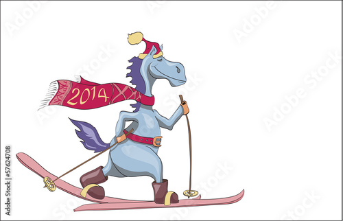 skiing blue New Year's horse. 2014
