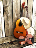 Fototapety Stringed instruments ,country music background