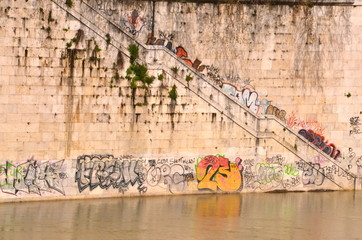 Colourful Graffiti on Lungotevere in Rome