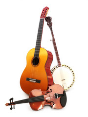 Stringed music instruments on a white background