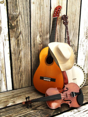 Stringed instruments ,country music background © storm